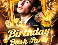 Birthday Bash Party Flyer, PSD Template
