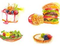Watercolor Food.