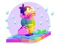 Bertje alone in the rain