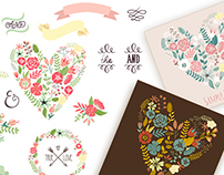 Vintage flowers and Valentine vectors for your design