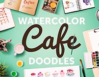 Watercolor Cafe Doodles