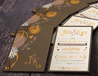 Abstract Wedding Invitation Set-01