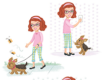 Teen girl doing chores with puppy