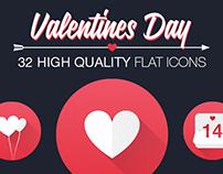 Valentine's Day Flat Icon set