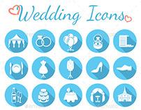 Round Flat Wedding Icons