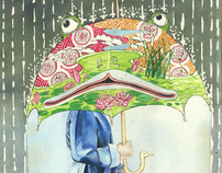 The Girl with the frog Umbrella