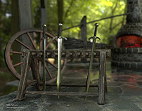 Medieval Blacksmith Shop. Lowpoly game asset