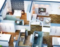 Isometric Floor Plan render in 3D