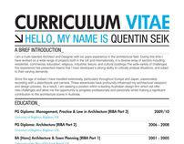 Quentin Seik: Curriculum Vitae 2011