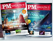 Illustrations for PM Magazine cover Mars, UFO, Titanic