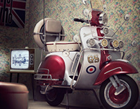 CGI Vespa and room set.