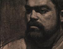 """Self Portrait"" charcoal on paper"