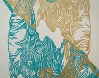Elephant Woodblock Prints