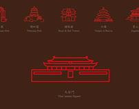 beijing tourism attraction landmarks icon