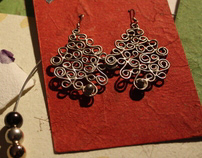Silver filigree ear rings