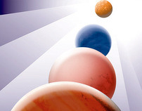 Poster. A space travel in the style by A. Cassandre