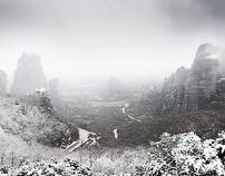 Snowing in Meteora