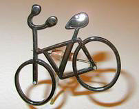 Rhodium Plated Bicycle with Diamonds