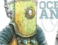 Diver in retro suit (science illustration, watercolor)