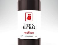 Beer & Skittles wine label