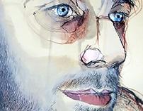 Portrait/drawing/kroki/mix media