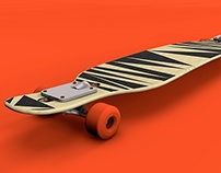 Longboard with zig-zag griptape and cut-out shape