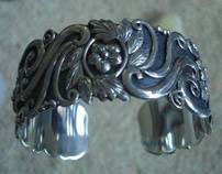 sterling silver cuff bracelet with details flowers