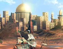 Arriving in the old desert city - Matte Painting