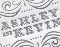 Ashley + Kevin Letterpress Wedding Invitations