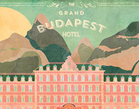 Retro postcard The Grand Budapest Hotel