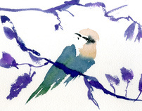 Watercolor animals in the Zoo