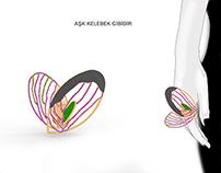 jewellery design, butterfly&heart ring