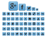 Retina Baby Blue Social Icons pack