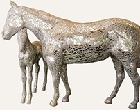 Photographs of painet/decorated horse scupltures