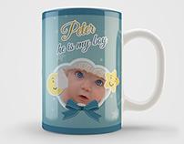 New Boy Born Mug Art Design Template