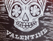 Linocut tablets for valentines day