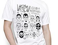 T-shirt design for WOW CLUB FESTIVAL