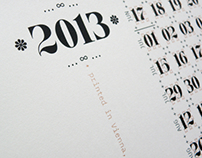 Screen Printed Typographic Poster-Calendar for 2013