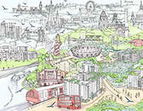 Drawing of East Village, London.
