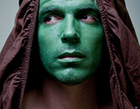 A man with a green face
