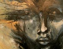 Abstract golden face