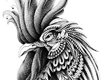 Ornately Decorated Rooster