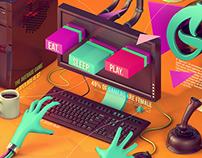 Gamer Freak 3D Illustration