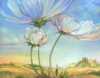 """OIL PAINTING """"In the Half-shadow of Wild Flowers"""""""