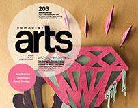 Computer arts layout and editorial illustration