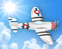 Second War Airplane Illustration