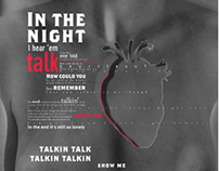 Poster for in the night here em i talk song, by Kanye W