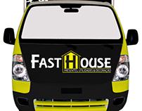 Projeto de adesivação dos caminhões da loja Fast House