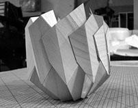 Folding wood lamp