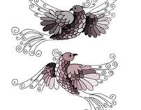 """Illustration """"Love birds"""""""